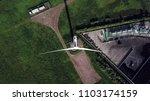 top aerial view of wind turbine. | Shutterstock . vector #1103174159