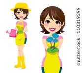 cute woman doing gardening... | Shutterstock .eps vector #110319299