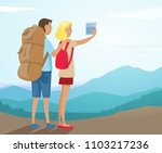 couple of tourists hiking and... | Shutterstock .eps vector #1103217236
