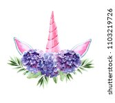 watercolor head of unicorn with ... | Shutterstock . vector #1103219726