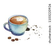 watercolor cup of macchiato on... | Shutterstock . vector #1103220926