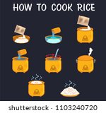 how to cook rice flat vector | Shutterstock .eps vector #1103240720