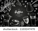 coffee cups  beans and coffee... | Shutterstock .eps vector #1103247470