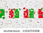 flags  of italy behind a glass... | Shutterstock . vector #1103253308