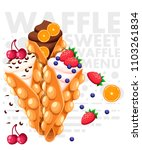hong kong waffles. waffle with... | Shutterstock .eps vector #1103261834