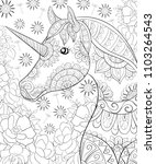 adult coloring book page a cute ... | Shutterstock .eps vector #1103264543