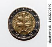 reverse side of 2 euro coin... | Shutterstock . vector #1103270540