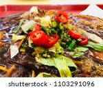 sizzling noodle with mushroom ... | Shutterstock . vector #1103291096