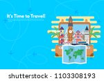 travel around the world with... | Shutterstock .eps vector #1103308193