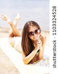 sexy girl with sunglasses... | Shutterstock . vector #1103324528