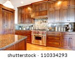 Stock photo luxury pine wood beautiful custom kitchen interior design with island and granite 110334293