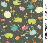 stylized water lilies pattern... | Shutterstock .eps vector #1103353874