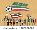 mexican football fans cheering... | Shutterstock .eps vector #1103358686