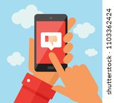 hand holding a mobile phone... | Shutterstock .eps vector #1103362424