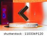 golden chevron left icon on...   Shutterstock . vector #1103369120