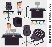 young female dj mixing music on ... | Shutterstock .eps vector #1103378708