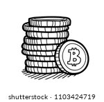 stack of bitcoin coins doodle ... | Shutterstock .eps vector #1103424719