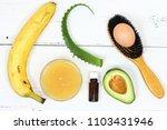 hair mask fron banana  honey ...   Shutterstock . vector #1103431946