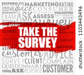 take the survey word cloud... | Shutterstock .eps vector #1103443496