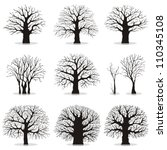 collection of trees silhouettes | Shutterstock .eps vector #110345108