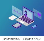 3d isometric telemedicine flat... | Shutterstock .eps vector #1103457710