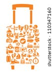 travel suitcase with many icon... | Shutterstock .eps vector #110347160