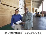 happy warehouse workers holding ... | Shutterstock . vector #110347766