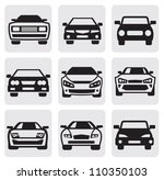 vector black car symbols set in ... | Shutterstock .eps vector #110350103