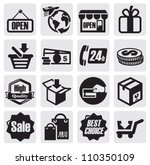 vector black shopping icons on... | Shutterstock .eps vector #110350109