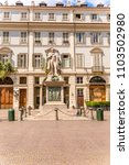 Small photo of Turin, Italy - 19 August 2017. The statue of Vincenzo Gioberti a famous Italian philosopher, with the facade of Carignano Theater in the background.