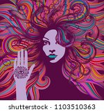 psychedelic portrait of a... | Shutterstock .eps vector #1103510363