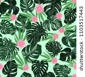 monstera leaves and ethnic... | Shutterstock .eps vector #1103517443