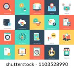 seo and marketing flat vector... | Shutterstock .eps vector #1103528990