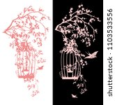 bird cage among sakura blossom  ... | Shutterstock .eps vector #1103533556