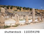 EPHESUS, TURKEY June 2008 Roman Basilica at Ephesus in Turkey June 26 2008.  Ephesus was an ancient Greek city, and later a major Roman city and one of the largest cities in the Mediterranean world. - stock photo