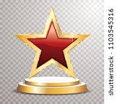 Red Golden Star On Golden...