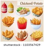 chicken and potato. set of... | Shutterstock . vector #1103567429