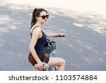 beautiful vintage girl sitting...   Shutterstock . vector #1103574884
