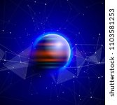 a planet in deep blue space... | Shutterstock .eps vector #1103581253