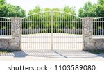 chrome fence gate. chromium... | Shutterstock . vector #1103589080