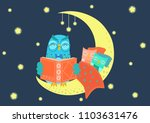 sweet charming owl reading book ... | Shutterstock .eps vector #1103631476
