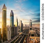 dubai sunset panoramic view of... | Shutterstock . vector #1103638046