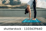 woman practicing yoga positions ... | Shutterstock . vector #1103639660