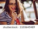 closeup of beautiful young... | Shutterstock . vector #1103645489