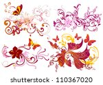 vector set of swirl floral...