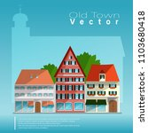 medieval european houses with... | Shutterstock .eps vector #1103680418