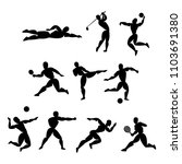 athlete icon set vector in... | Shutterstock .eps vector #1103691380