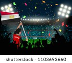 supporter hold egypt flag among ... | Shutterstock .eps vector #1103693660