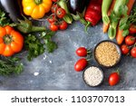 mixed vegetables background | Shutterstock . vector #1103707013