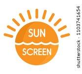 sun sea screen uv logo. flat... | Shutterstock .eps vector #1103741654